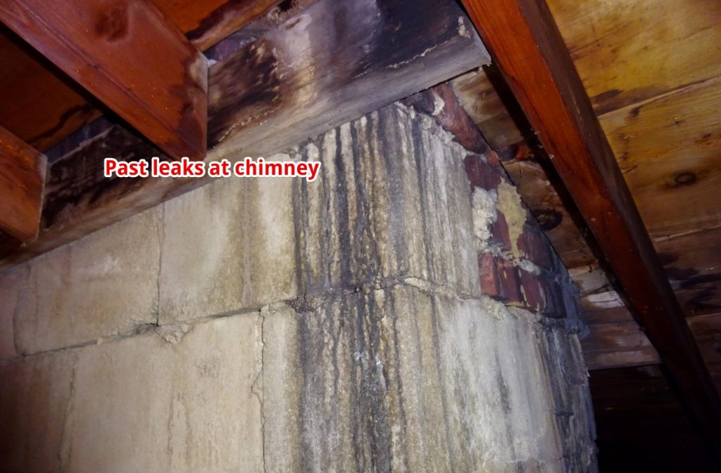 paste leaks at the chimney in the attic